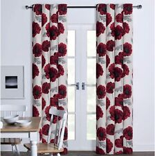 """Red Poppy Floral Flower Printed Eyelet Ring Top Cotton 90"""" x 90"""" Lined Curtains"""