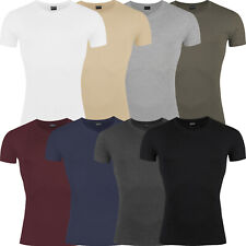 New Mens Slim Fit V Neck T Shirt Short Sleeve Muscle Gym Plain Cotton Top Lot