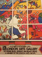 Rare Vintage Peter Max London Arts Gallery Pop Op Psychedelic wall Art Poster
