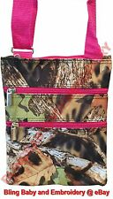 Camo Pink Messenger Passport Bag Hipster Crossbody Purse Tote Mossy Oak Pattern