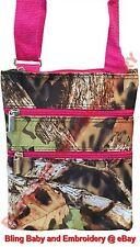 Camo Pink Messenger Passport Bag Hipster Crossbody Purse Tote Mossy Oak Pattern