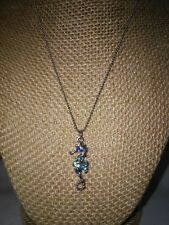 PRETTY COOL JEWELS BLUE & TEAL RHINESTONE SEAHORSE SILVER TONE CHAIN NECKLACE