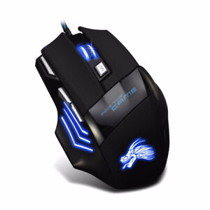 Optical USB Wired Mouse LED Gaming Professional 7 Button for Gamer PC Laptop