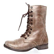 Steve Madden Troopa Leather Boot Grey Women Sz 5.5 M 4059 *