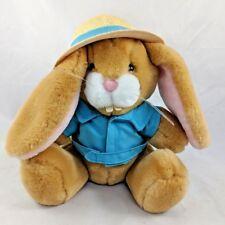 "Dakin Tan Rabbit Plush Safari Straw Hat Jacket 9"" 1988 Vintage Stuffed Animal"