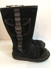 "$229 UGG Australia 1895 ""Retro Cargo"" Tall Black Boots Size 6 M Women's Buckle"