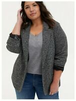 NWT Torrid Size 3 Black White Boyfriend Boucle Blazer Long Sleeve One Button