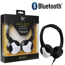 KitSound Arcade Wireless Bluetooth Headphones + Mic for iPhone 7 / Android White