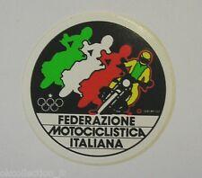 VECCHIO ADESIVO MOTO / Old Sticker FMI FEDERAZIONE MOTOCICLISTICA ITALIANA (cm7)