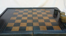 Ancien GRAND  Plateau d 'Echec / Backgammon en Bois , Chess . 52 cm x 73 cm