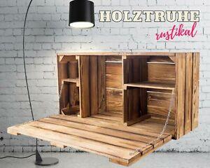 Außergewöhnliche, große Holztruhe mit Deckel, geflammt und mit Fächern DIY Möbel