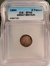 1884 Great Britain Silver 3 Three Pence - ICG Certified EF40 XF40 KM# 730
