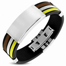Bracelet Made of Rubber 4 Tones of Key Greek Brown, White, Black and Style M