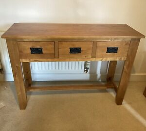 Oak Furniture Land Console Table with 3 Drawers. Solid Oak.