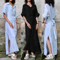 UK Women Buttons V Neck Dress Ladies Summer Casual Loose Maxi Shirt Dresses 8-26