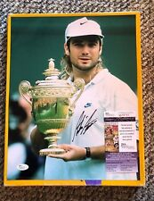 ANDRE AGASSI SIGNED 11 X 14 WIMBLEDON PHOTO JSA CERTIFIED