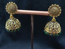 Indian Gold Oxidised Green Stone Women Dangle Jaipur Earrings Beauty Jhumki