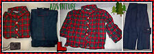 NEW 18 month Boy Fall Red Plaid Cotton Flannel Shirt Elastic Pullon Cargo Jeans
