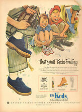 1950 vintage Kids Shoes AD for US KEDS Sneakers Great Art Many styles 051817