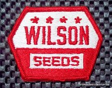 "WILSON SEED EMBROIDERED SEW ON PATCH FARM HARLAN IOWA PLANT HARVEST 3"" x 2 1/4"""