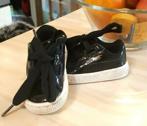Baby 4 UK, black patent, lace up, white sole, low trainers,  Puma