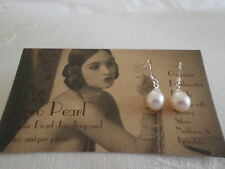 Deco PEARL drop earrings white 7-8mm Sterling 925 Silver Natural Cultured Pearls