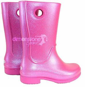 CROCS STIVALI PIOGGIA BAMBINA WELLIE RAIN BOOT C10  tg. 25-26 12902 fucsia rosa