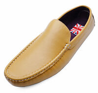 MENS YELLOW FLAT SMART CASUAL MOCCASIN LOAFERS DECK WORK DRIVING SHOES UK 6-11
