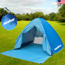 US Easy Up Beach Tent Outdoor Hiking Camping Travel Portable Shelter Blue w Case