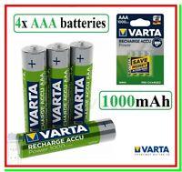 4 Batterie Ricaricabili VARTA AAA Pile Ministilo HR03 DC2400 NiMH 1,2v 1000mAh