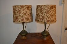 Mid-Century pair of 2 Vintage Lamps Orig. Shades Brass Finish
