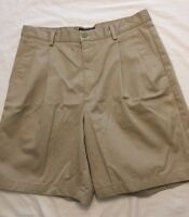 Men's Eddie Bauer Khaki Cotton 4 pocket Tan Beige Shorts 34 W X 8 Pleated GUC