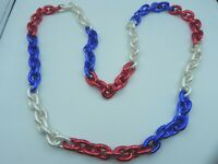 Red White Blue CHAIN Mardi Gras Necklace beads Patriotic Party Parade NICE