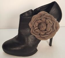 Black Leather Kelsi Dagger Platform Boots Booties w/Suede Gray Roses Sz 10 $200