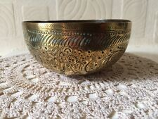 Antique Brass Temple Bowl With God Shiva & Garuda