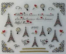 Nail Art 3D Decal Stickers Love Paris Effel Tower Valentine's Day Balloons JF002