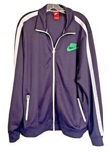 Nike Track Jacket XXXL Purple Full Zip 100% Polyester Neon Green Swoosh & White