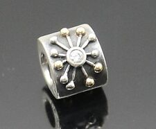 AUTHENTIC PANDORA CZ 14K GOLD ACCENTS SNOWFLAKE STERLING SILVER BEAD / CHARM