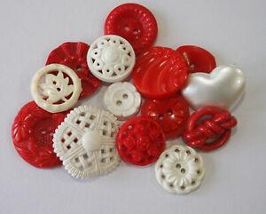 Vintage Plastic Realistic, Pierced Red & White~Colt, Flowers & Leaf Buttons
