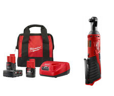 """Milwaukee M12 Cordless 3/8"""" Ratchet 2457-20  Charger 2 Batteries Charger & Bag"""