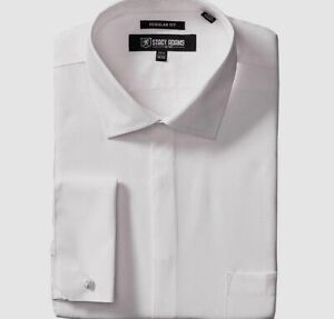 $75 Stacy Adams 15 32/33 Men's Regular-Fit White French-Cuff Button Dress Shirt