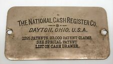 Vintage The National Cash Register Company Dayton, Ohio Metal Patent Name Plate