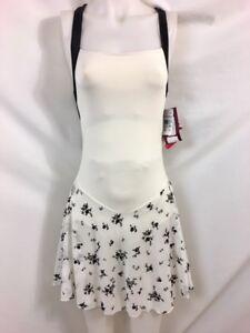 Motionwear Off-White & Black Floral Wide Strap Dress w/ DanceFlex, Size SA, NWT