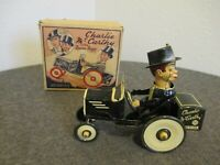 1938 MARX CHARLIE MCCARTHY IN HIS BENZINE BUGGY WIND-UP CAR W/ ORIGINAL BOX