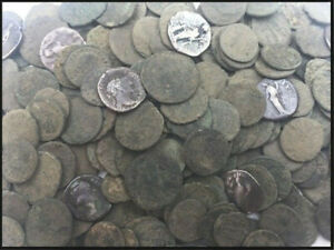 GENUINE UNCLEANED ANCIENT ROMAN COINS, GOOD QUALITY. SILVER COINS INCLUDED!