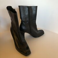 NINE WEST BOOTS BLACK LEATHER WOMENS 6M SHOES HEELS SQUARE TOE SIDE ZIP ANKLE