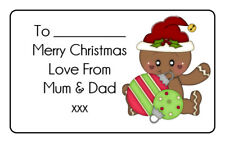 Gingerbread Man Christmas Personalised Gift Tags Present Stickers Labels xmas