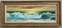 Original Oil Painting Vintage Mid-Century Seascape Coastal Ocean Waves Luminist