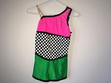 Pink green and checkered youth figure skating dress