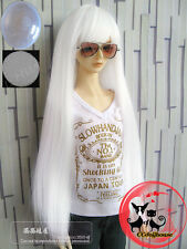 "7-8"" 1/4 BJD White Cute Long Wig LUTS Doll SD DZ DOD MSD Pullip Hair +Cap AL"